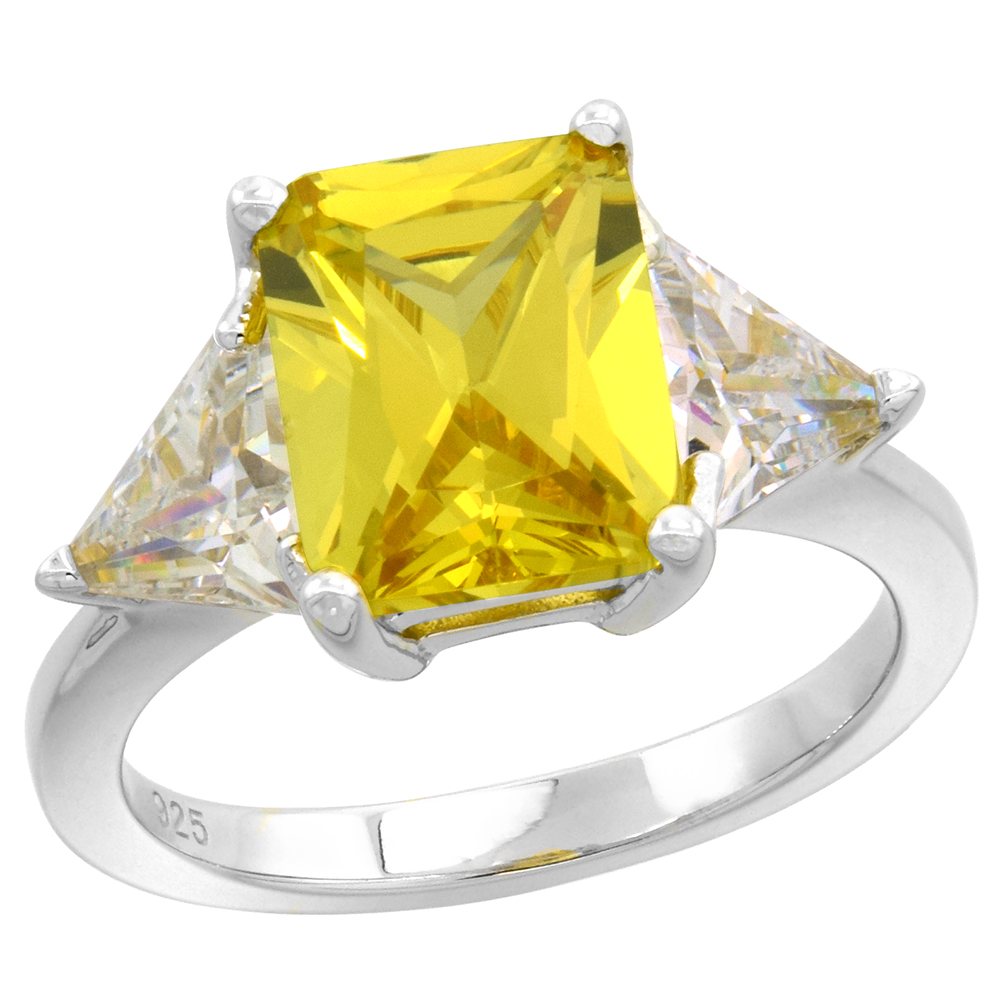 Sterling Silver Radiant Cut Yellow CZ 3-Stone Engagement Ring for Women 10X8mm and Triangle Sides 7/16 inch wide size 6-9