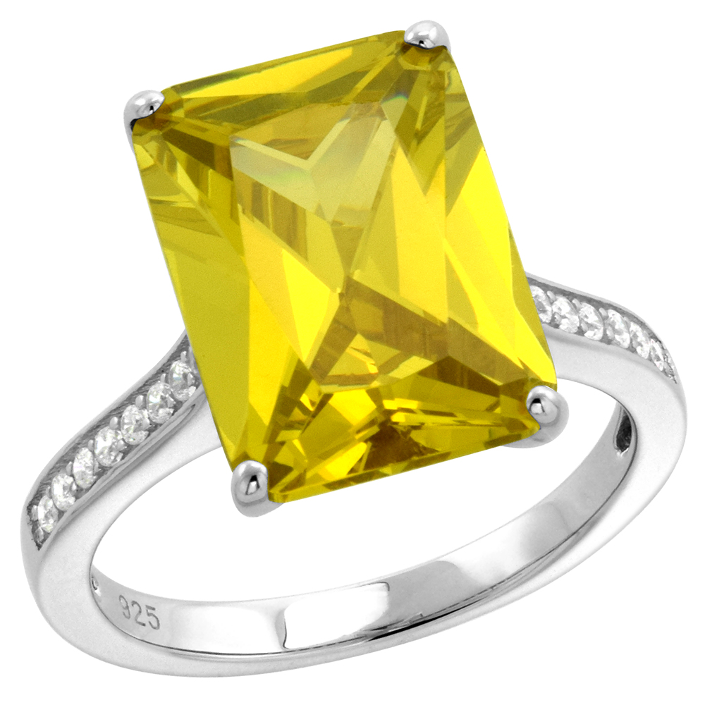 Sterling Silver Radiant Cut Yellow CZ Engagement Ring for Women 14X10mm with Channel set sides 9/16 inch wide size 6-9