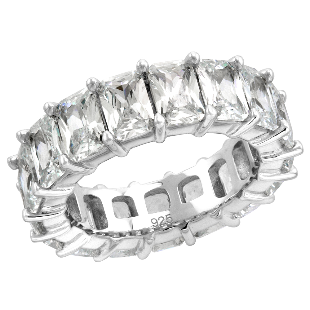 Sterling Silver 6X4mm Radiant Cut CZ Eternity Band for Women Claw Setting Rhodium Finish 1/4 inch wide size 6-9