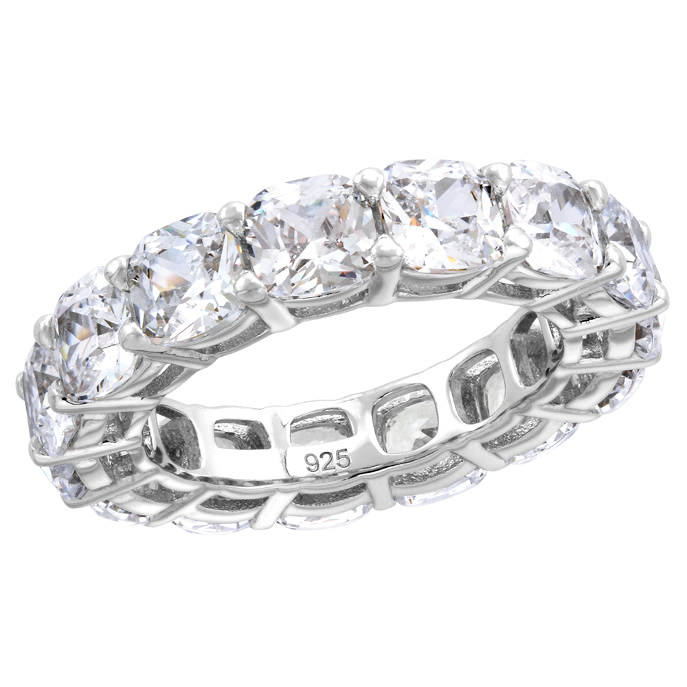 Sterling Silver 5mm Cushion Cut CZ Eternity Band for Women Claw Setting 3/16 inch wide size 6-9