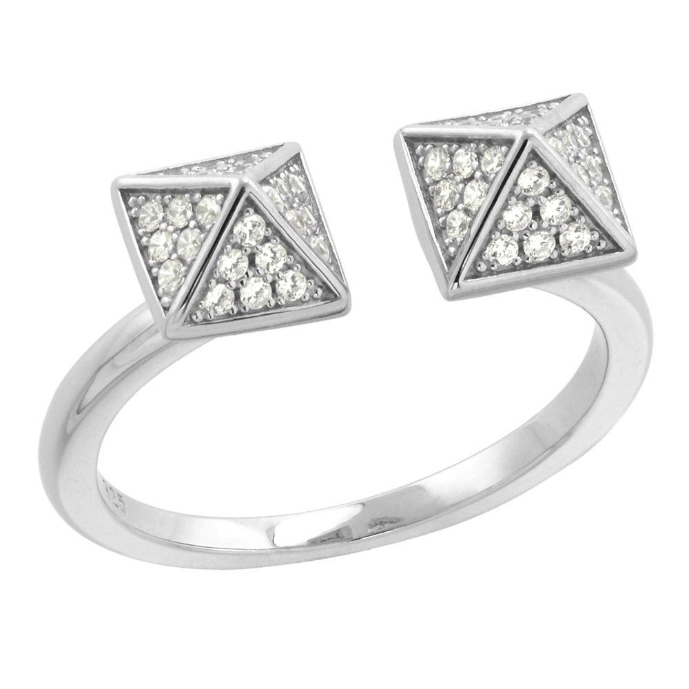 Sterling Silver Micro pave CZ Double Pyramid Ring for Women Adjustable Rhodium Finish 1/4 inch wide size 6-9