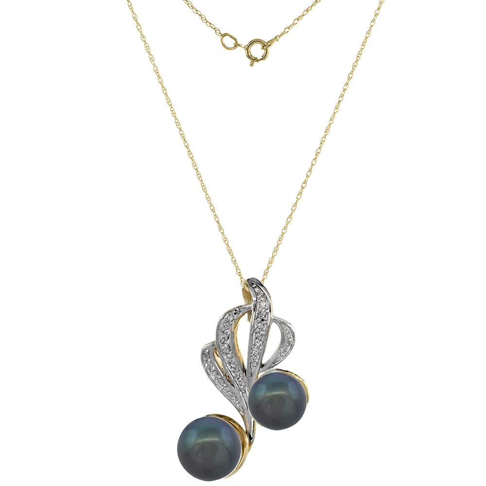 14k Yellow Gold Diamond 9mm & 11mm Black Pearl Necklace 0.23 ct Round Brilliant cut, 18 inch long