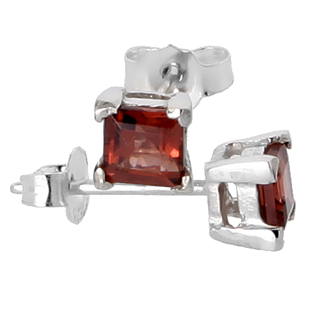 January Birthstone, Natural Garnet 0.40 Carat (4 mm) Size Princess Cut Square Stud Earrings in Sterling Silver Basket Setting