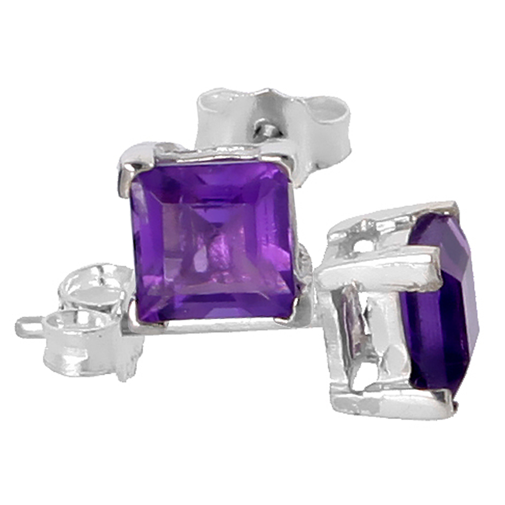 February Birthstone, Natural Amethyst 3/4 Carat (5 mm) Size Princess Cut Square Stud Earrings in Sterling Silver Basket Setting