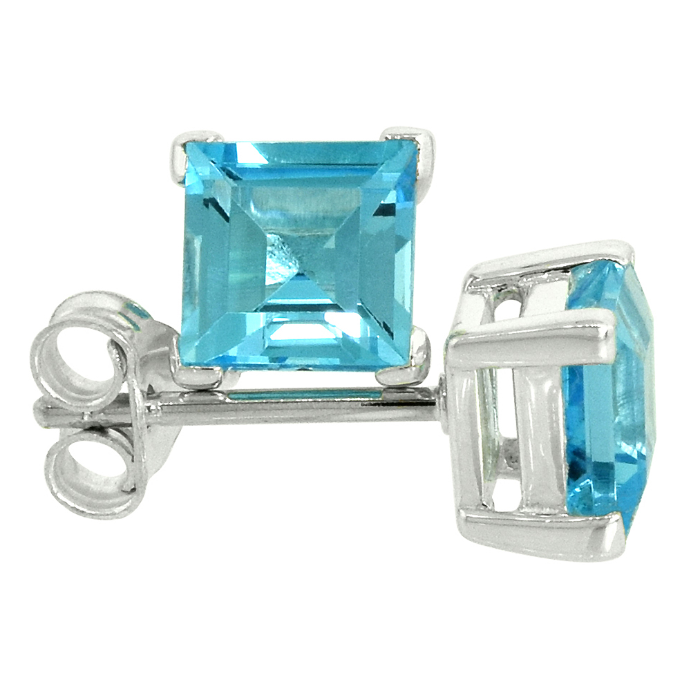 December Birthstone, Natural Blue Topaz 1 1/4 Carat (6 mm) Size Princess Cut Square Stud Earrings in Sterling Silver Basket Setting