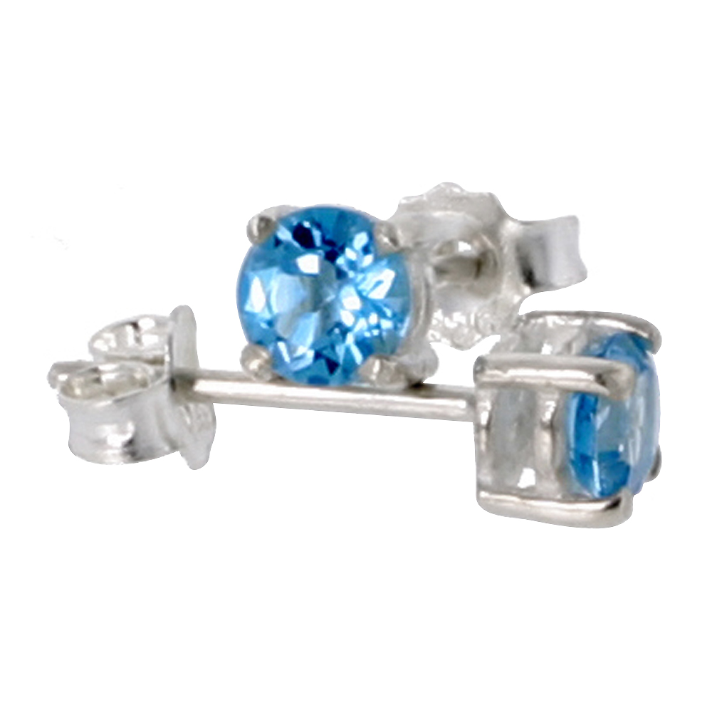 December Birthstone, Natural Blue Topaz 1/4 Carat (4 mm) Size Brilliant Cut Stud Earrings in Sterling Silver Basket Setting