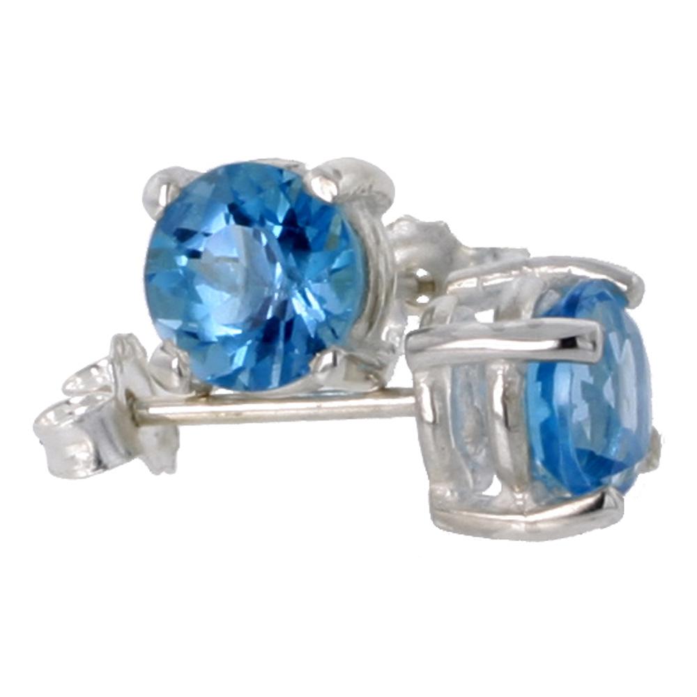 December Birthstone, Natural Blue Topaz 1 Carat (6 mm) Size Brilliant Cut Stud Earrings in Sterling Silver Basket Setting