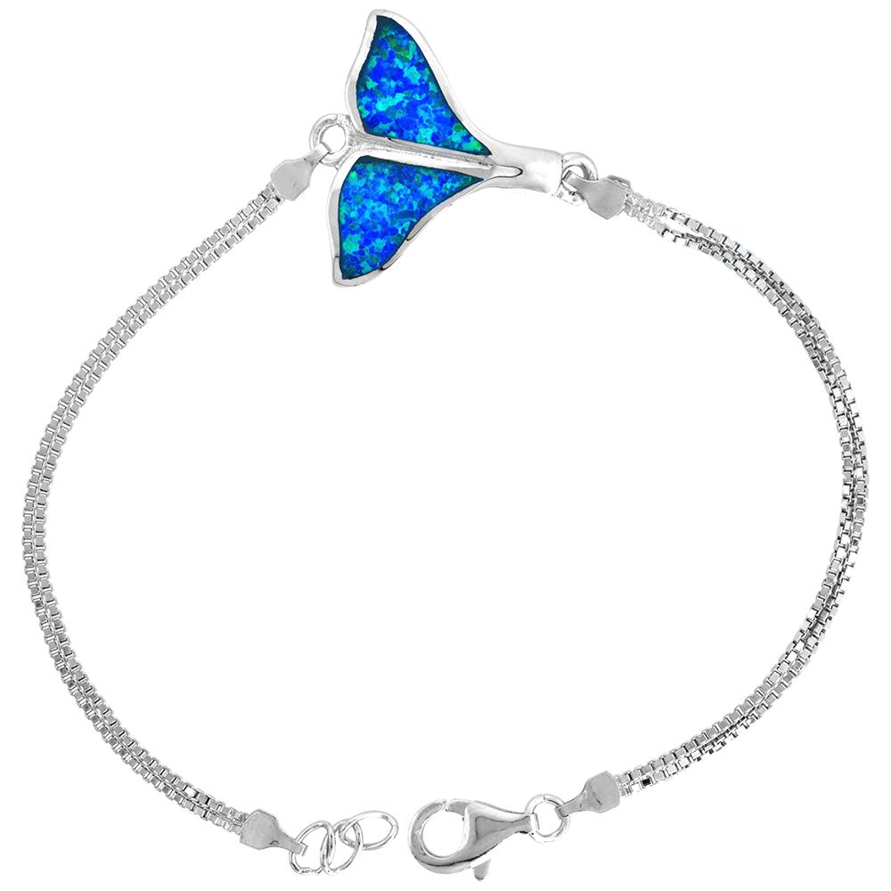 Sterling Silver Synthetic Opal Whale Tail Bracelet Women lobster lock, 7 1/4 inch long