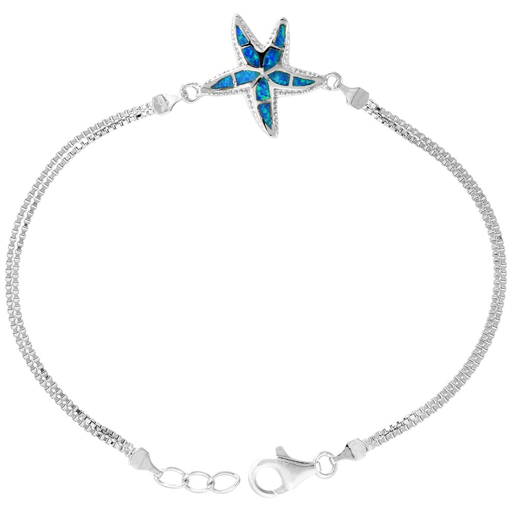 Sterling Silver Synthetic Opal Starfish Bracelet Women lobster lock, 7 1/4 inch long