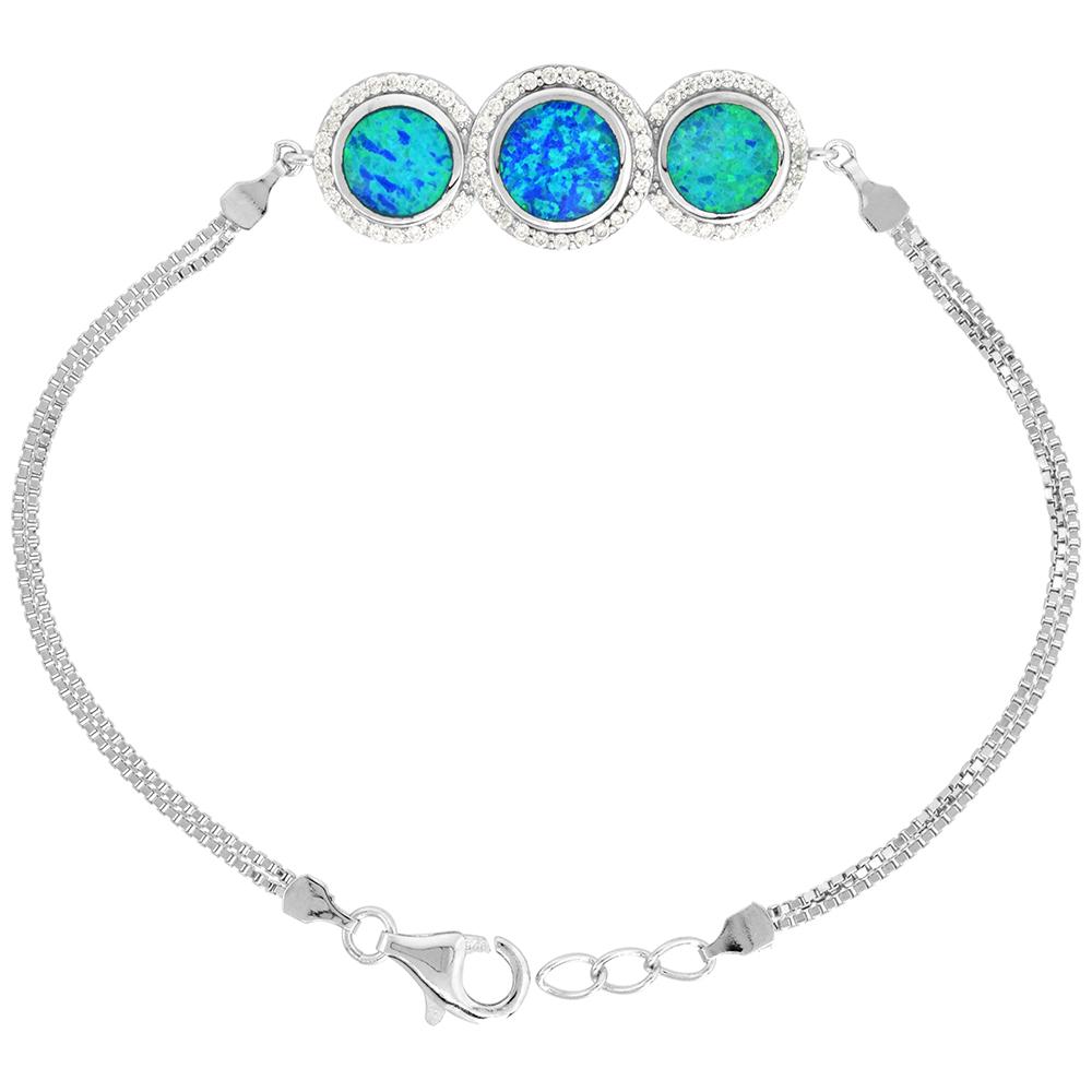 Sterling Silver Synthetic Opal Bracelet 3 Circles CZ Halo Women lobster lock, 7 1/4 inch long