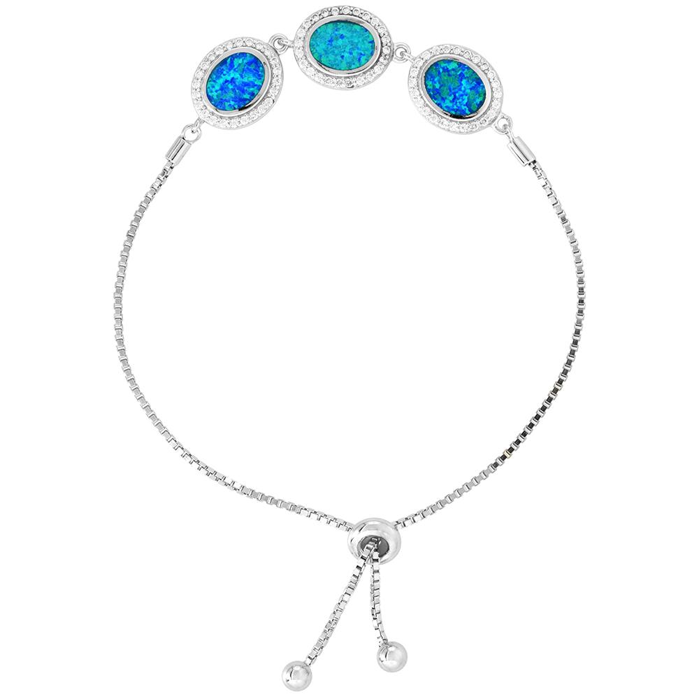Sterling Silver Synthetic Opal Bracelet 3 Oval Links CZ Halo Women Adjustable Clasp 7 - 8 inch