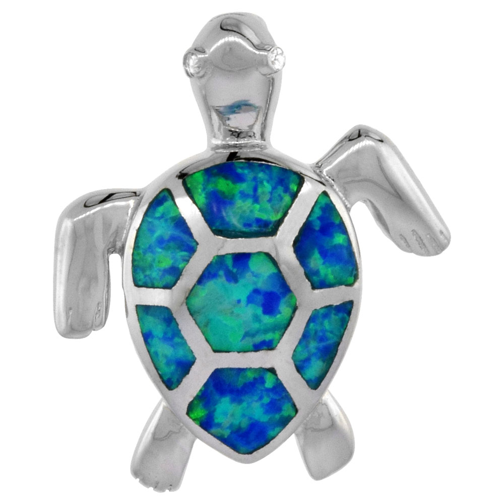 Sterling Silver Synthetic Opal Sea Turtle Pendant for Women CZ Eyes Hand Inlay 7/8 inch tall