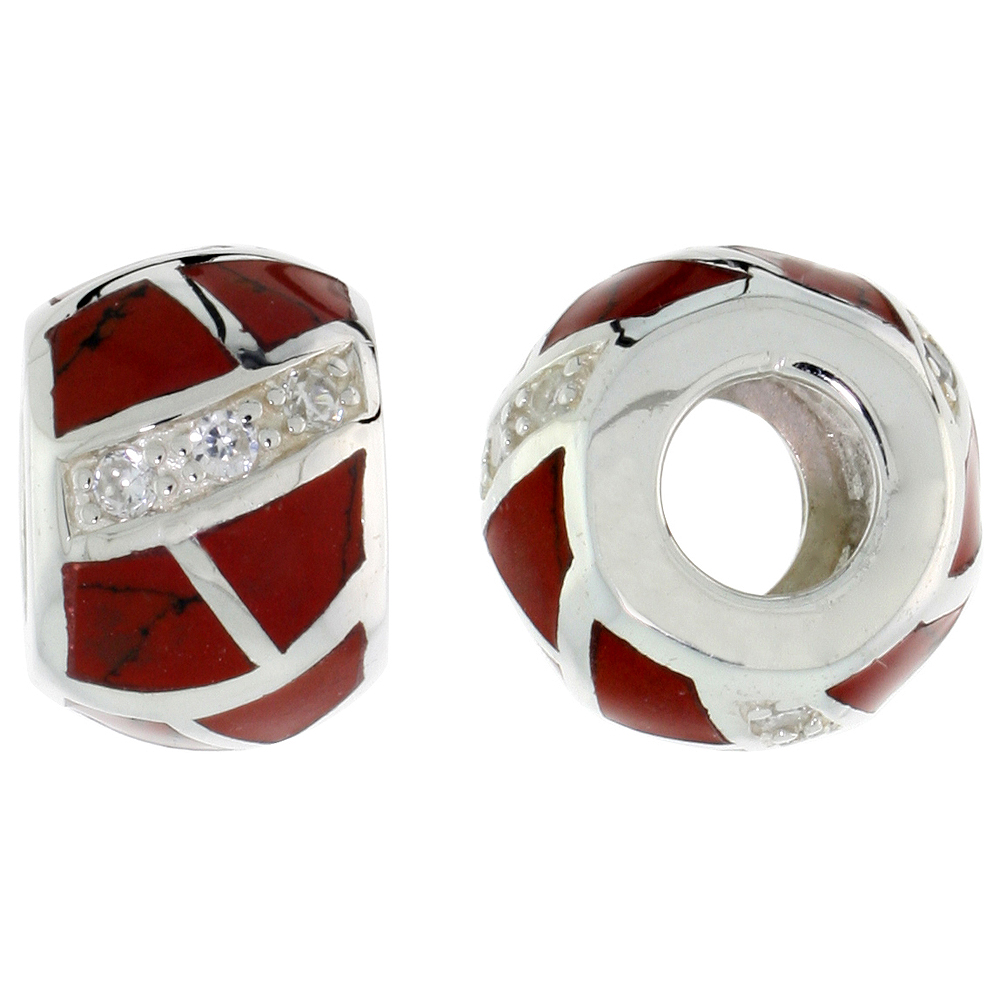 Sterling Silver Synthetic Coral Barrel Charm Bead CZ stones Fits Pandora and all Charm Bracelets, 3/8 inch