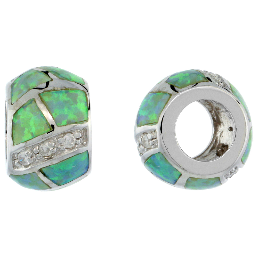 Sterling Silver Synthetic Green Opal Bead Charm CZ stones Fits Pandora and all Charm Bracelets, 3/8 inch