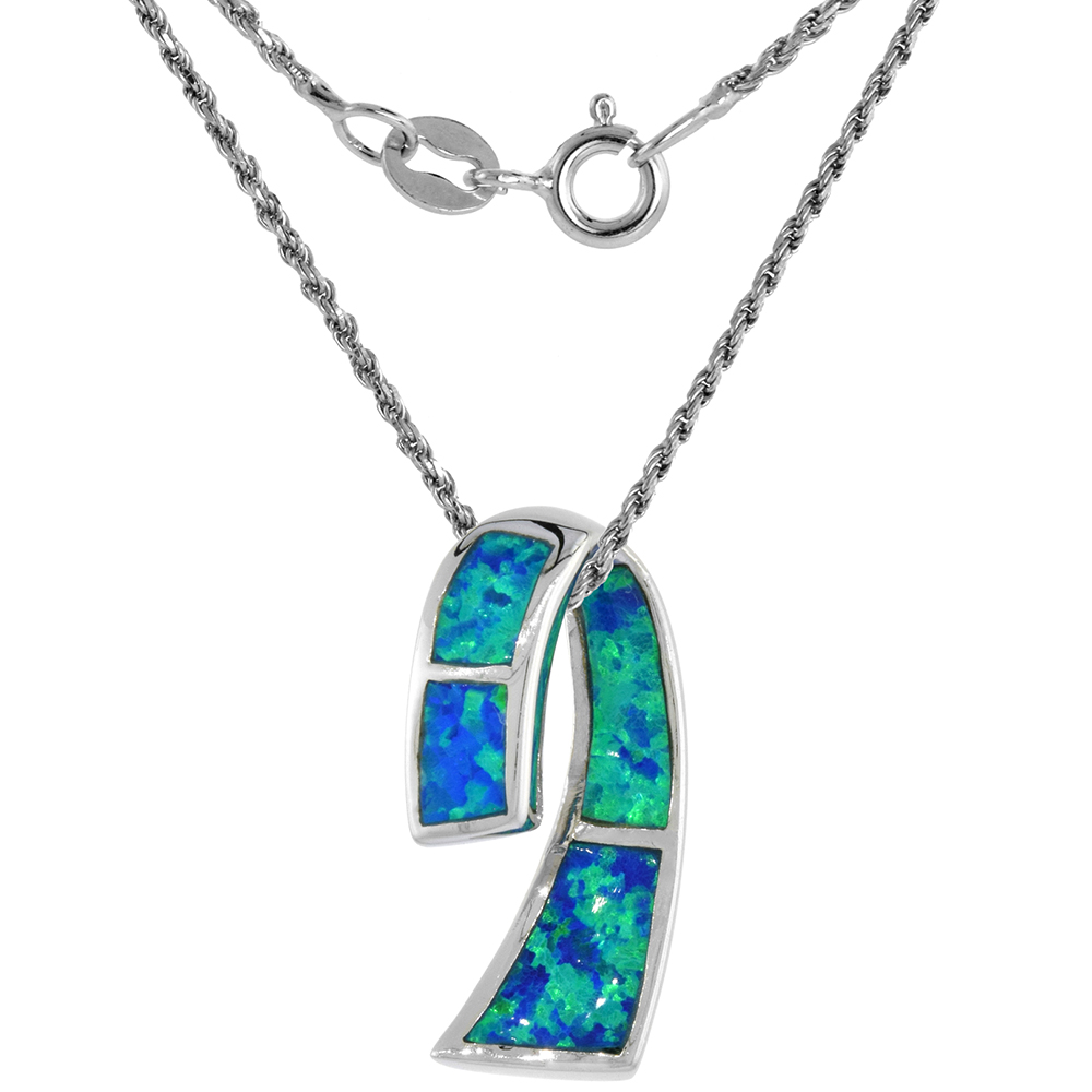 Sterling Silver Synthetic Opal Ribbon Necklace for Women available in Blue & Pink 7/8 inch Rope Chain