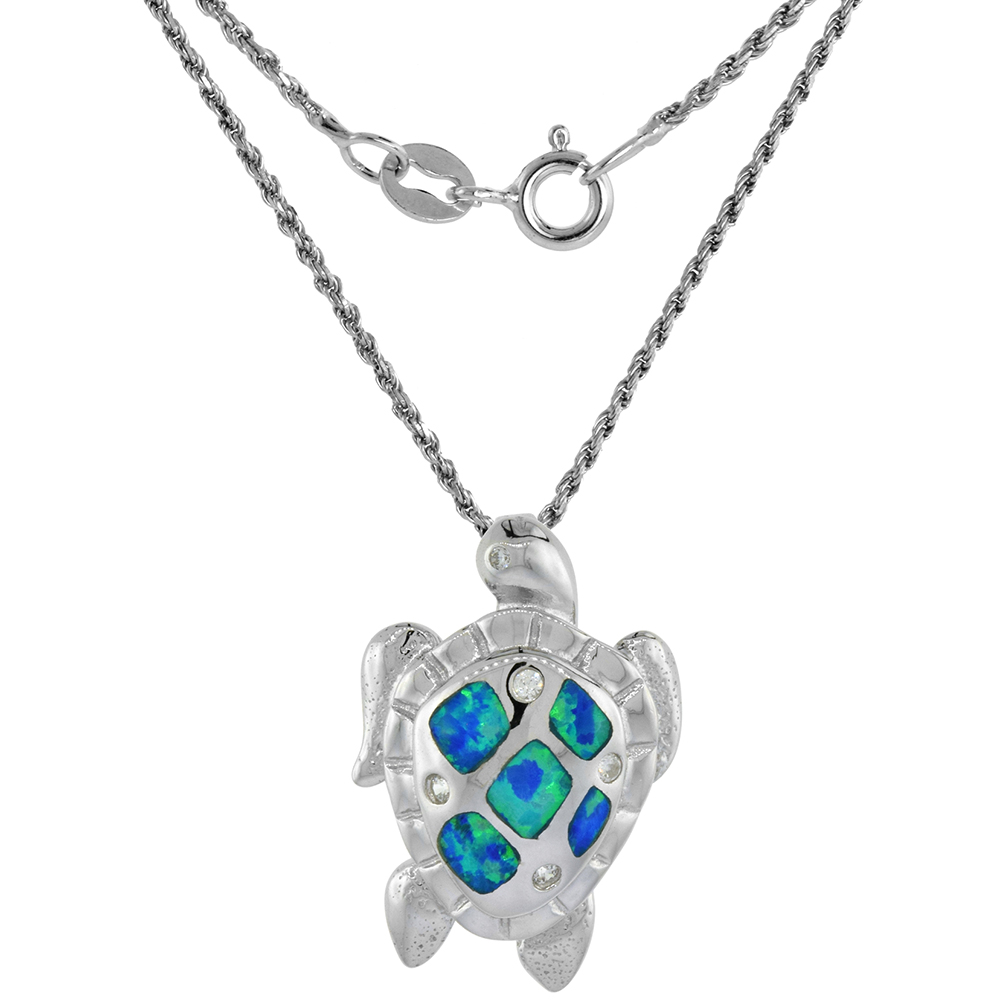 Sterling Silver Synthetic Opal Sea Turtle Necklace available in Blue & Pink CZ Accent 1 inch Rope Chain