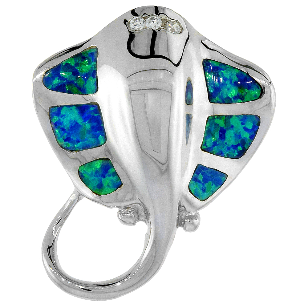 Sterling Silver Synthetic Opal Stingray Pendant Hand Inlay Cubic Zirconia Accent 1 1/8 inch tall
