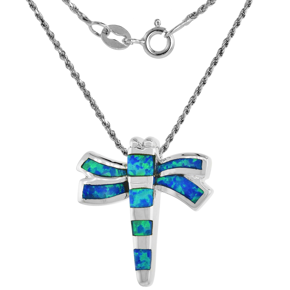 Sterling Silver Synthetic Opal Dragonfly Necklace for Women available in Blue & Pink 1 inch Rope Chain