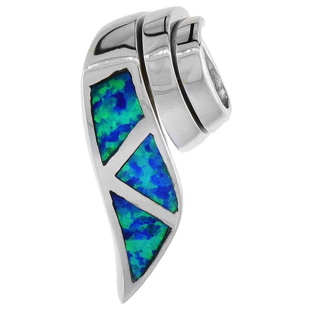 Sterling Silver Synthetic Opal Ribbon Slide Pendant for Women Hand Inlay 3/4 inch