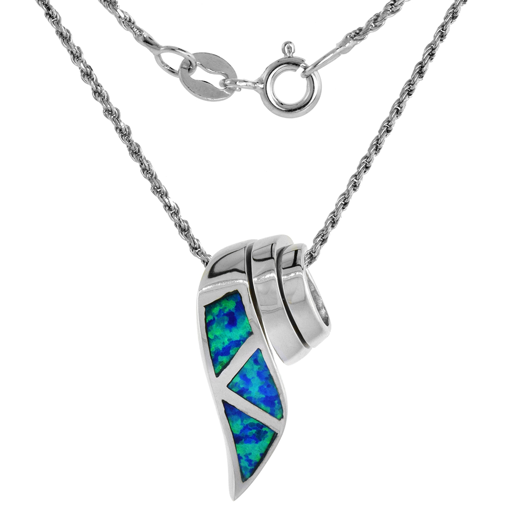 Sterling Silver Synthetic Opal Ribbon Necklace for Women Slide in Blue & Pink 3/4 inch Rope Chain