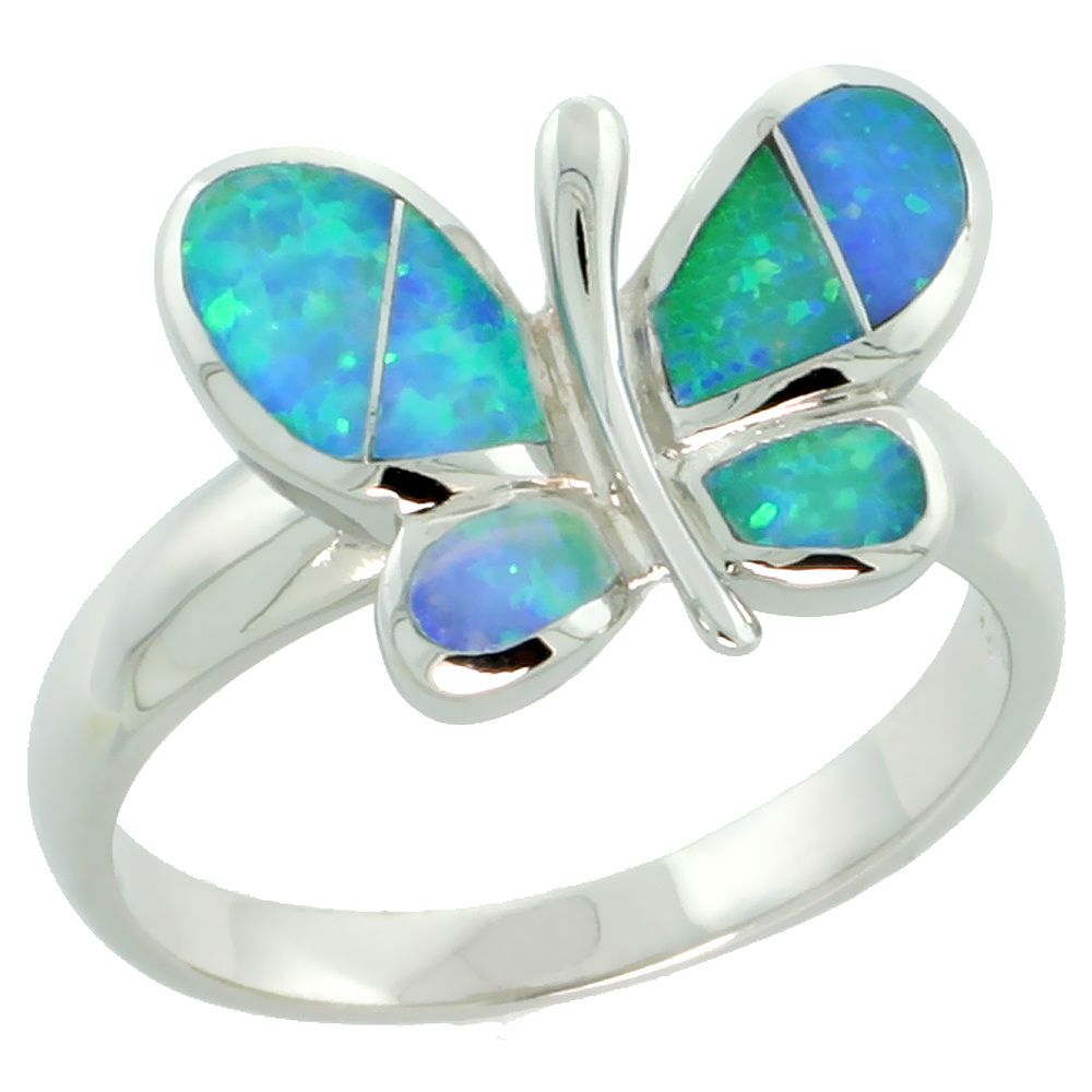 Sterling Silver Blue Synthetic Opal Butterfly Ring for Women Rounded Wings 7/16 inch