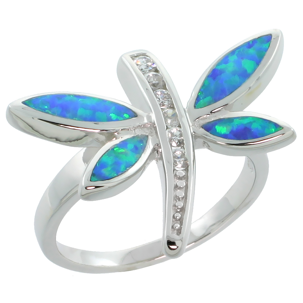 Sterling Silver Blue Synthetic Opal Dragonfly Ring for Women Channel CZ Accent 11/16 inch