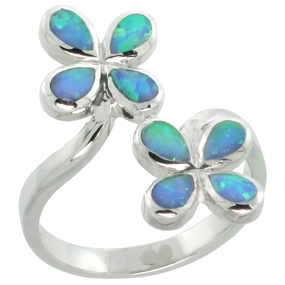 Sterling Silver Blue Synthetic Opal 4 Petal Flower Bypass Ring for Women Teardrop Inlay 13/16 inch