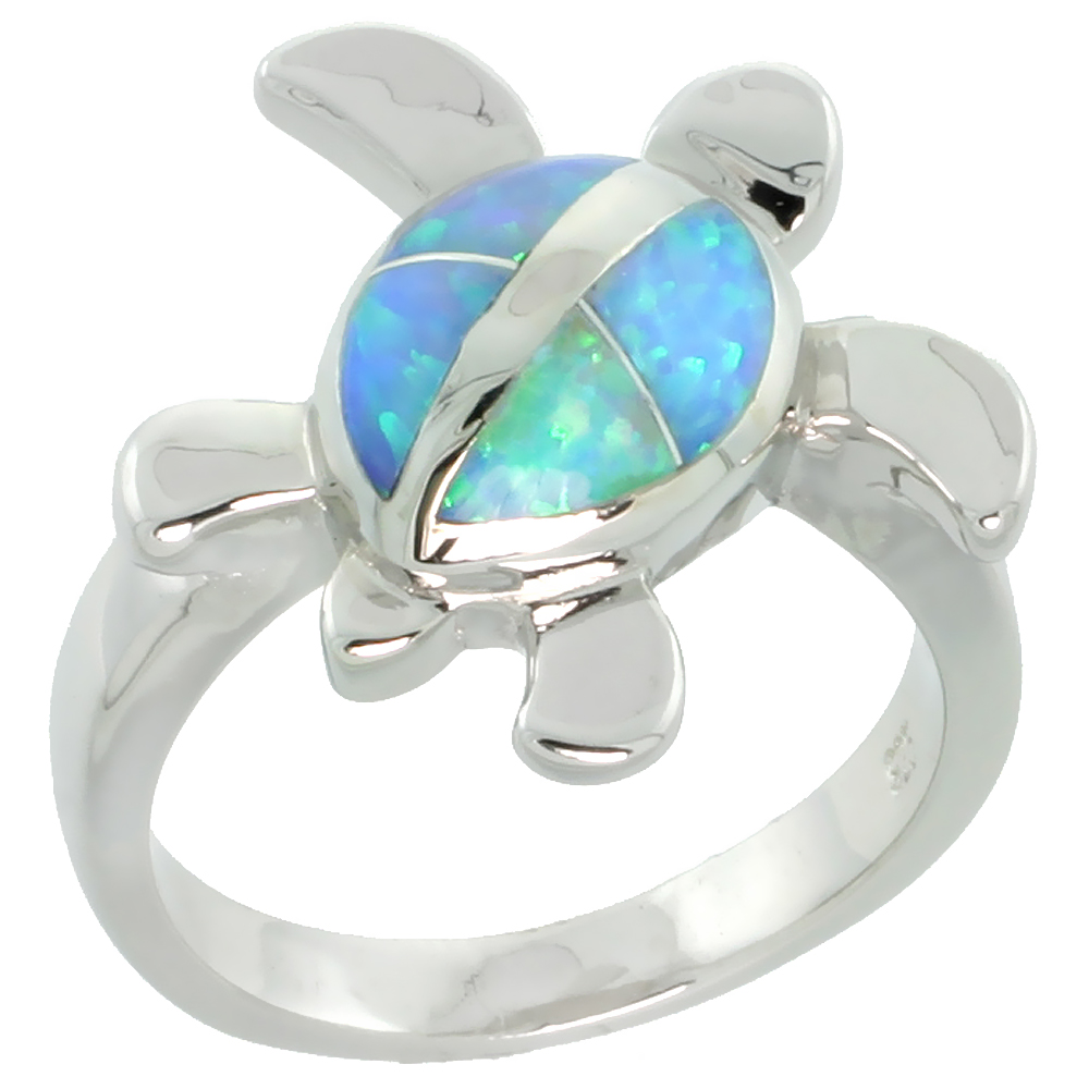 Sterling Silver Blue Synthetic Opal Hawaiian Honu Turtle Ring for Women 5/8 inch