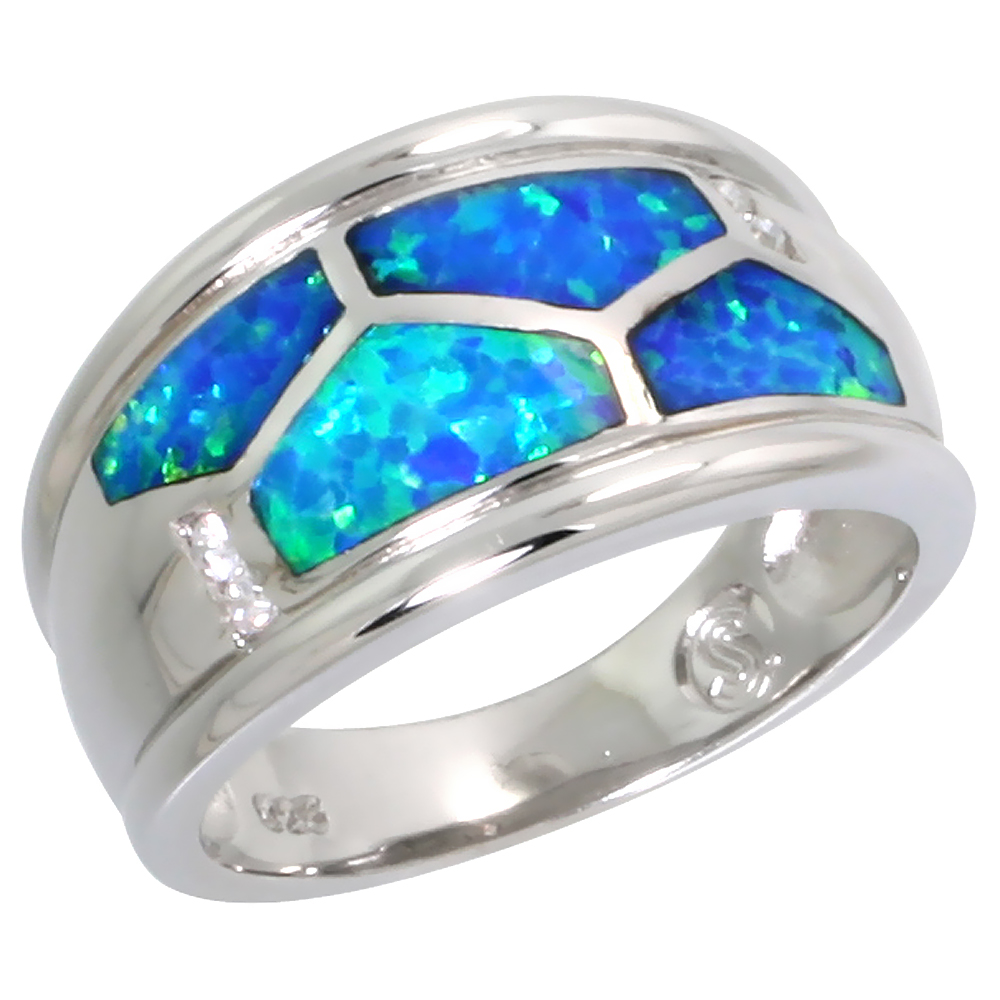 Sterling Silver Blue Synthetic Opal Cigar Band Ring for Women Tortoise Shell Pattern Inlay 7/16 inch