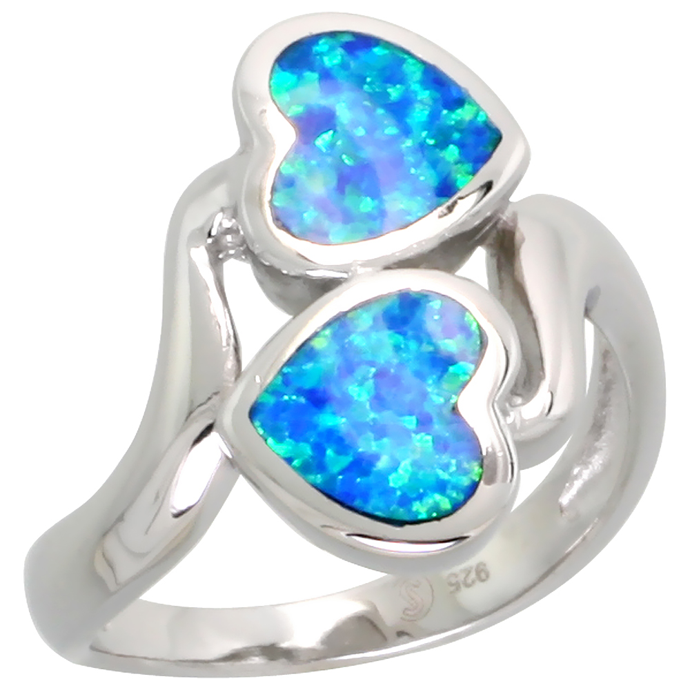 Sterling Silver Blue Synthetic Opal Heart Bypass Ring for Women 3/4 inch