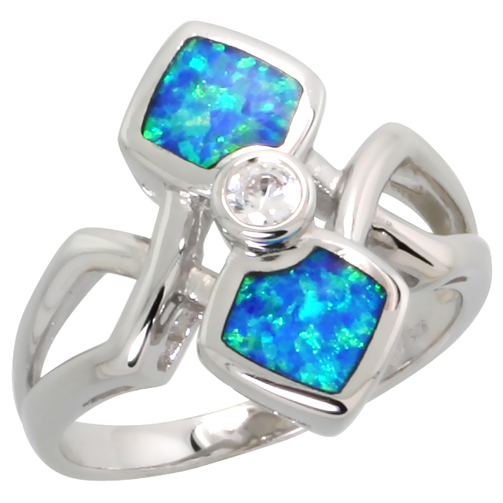Sterling Silver Blue Synthetic Opal Double Diamon Ring for Women 4mm CZ Center 3/4 inch
