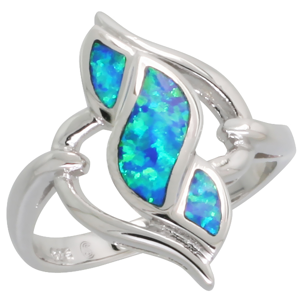 Sterling Silver Blue Synthetic Opal Double Pointed Spiral Ring for Women 13/16 inch