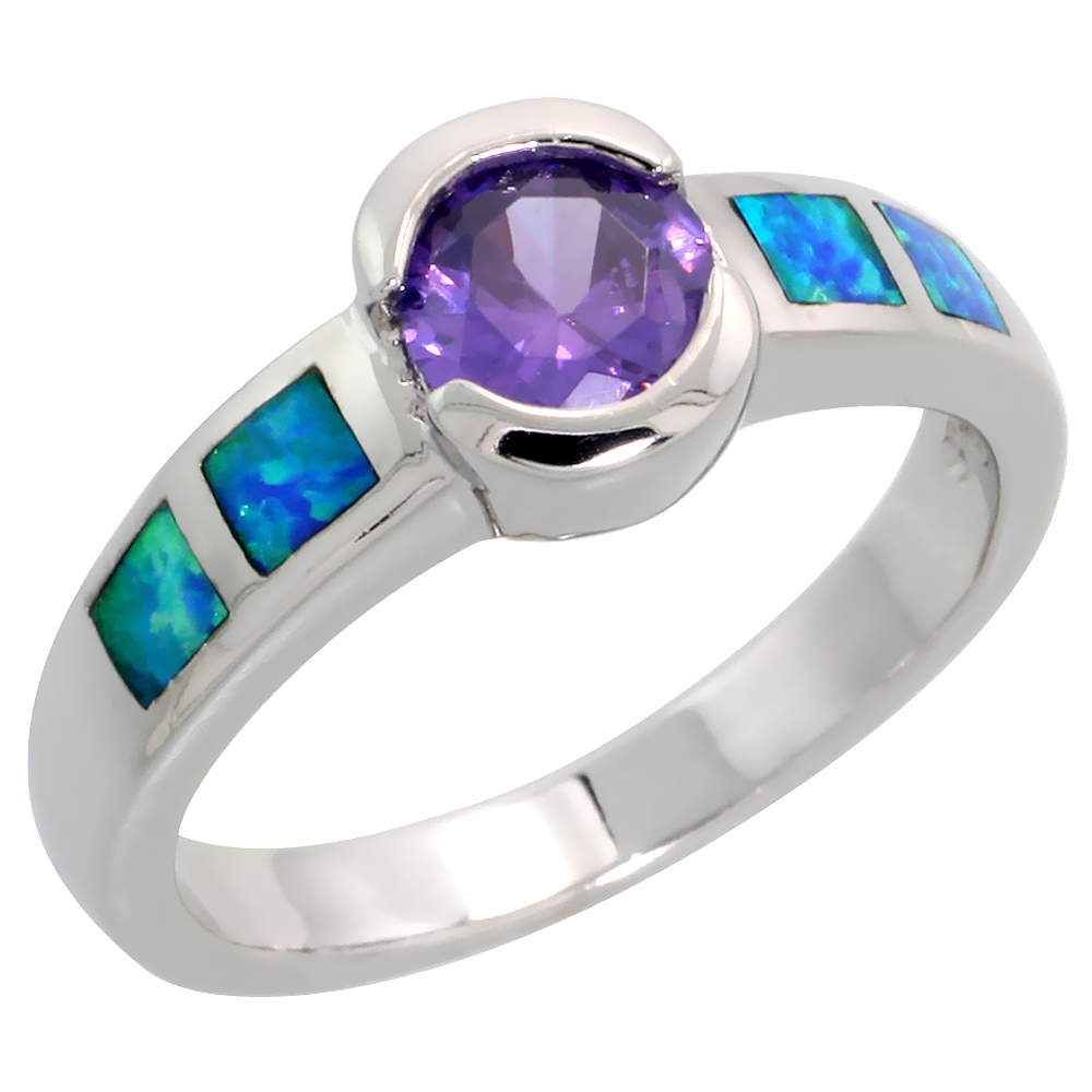 Sterling Silver Blue Synthetic Sterling Silver CZ Amethyst Solitaire Ring for Women Half Bezel set with Square Lab Opal inlay sides13/16 inch