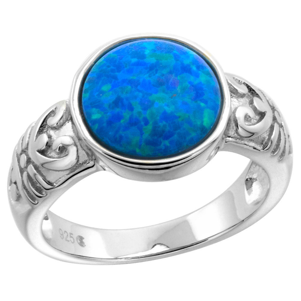 Sterling Silver Synthetic Opal 10mm Round Bezel Set Cabochon Ring for Women with Fertility Symbol sides 7/16 inch round sizes 6-9