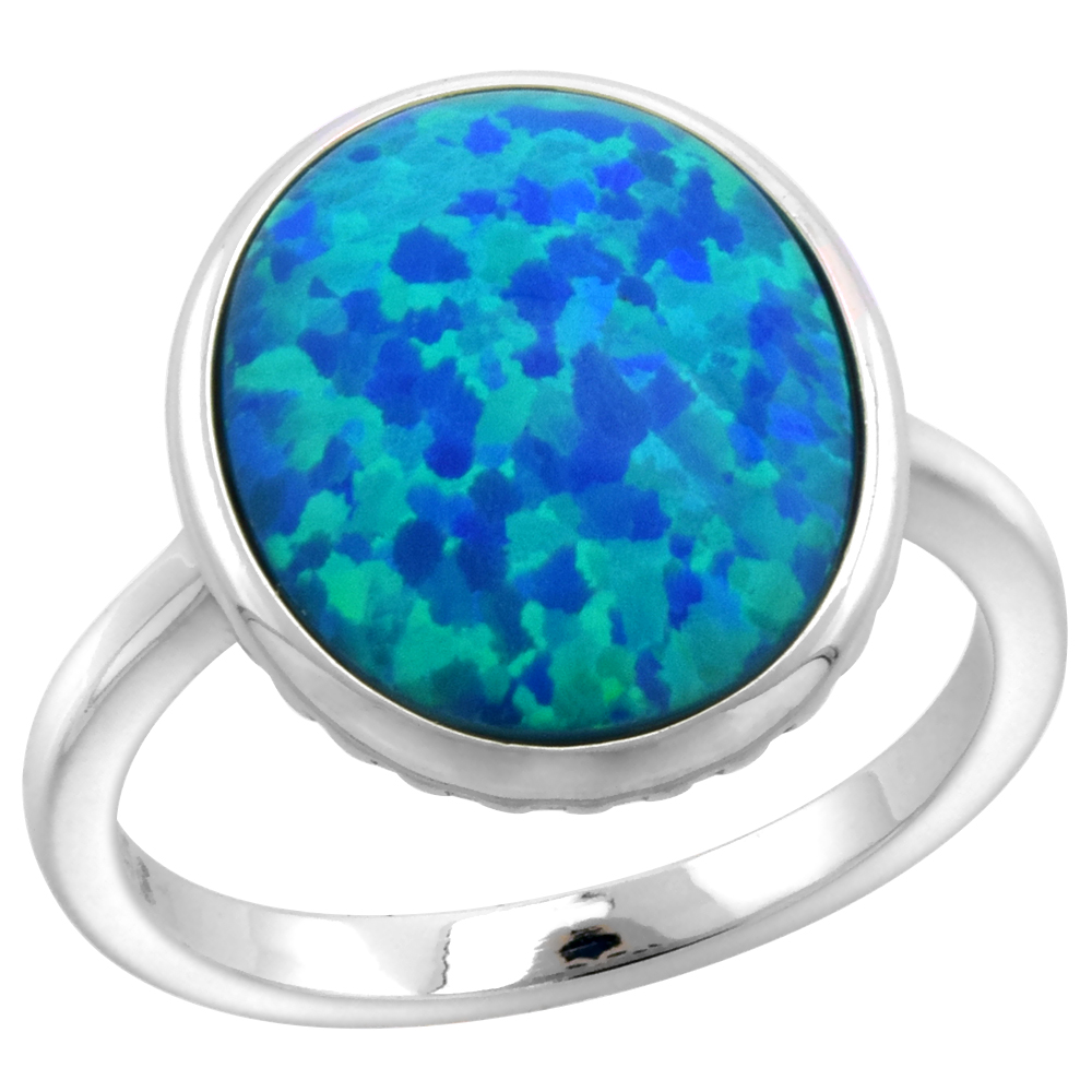 Sterling Silver Synthetic Opal 12X15mm Bezel Set Oval Cabochon Ring for Women 5/16 inch wide sizes 6-9