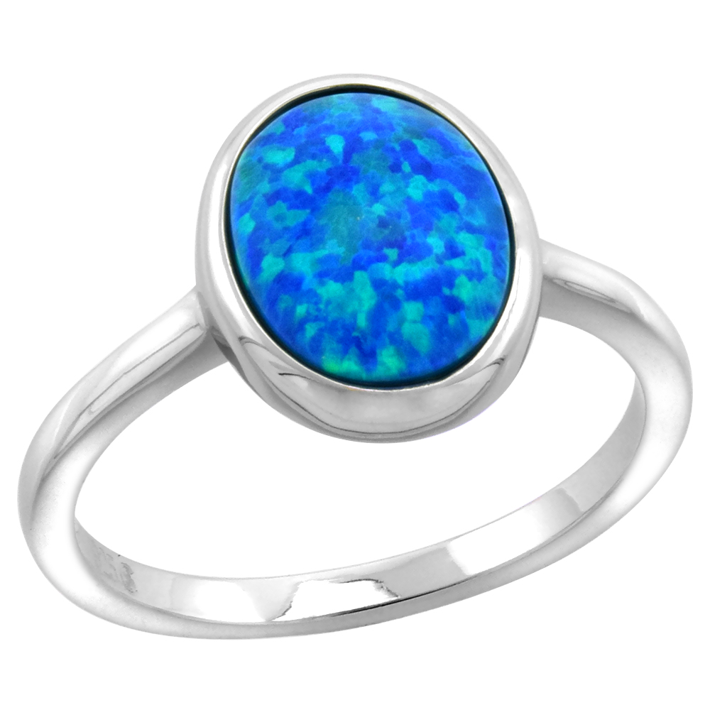 Sterling Silver Synthetic Opal 8X10mm Bezel Set Oval Cabochon Ring for Women 1/2 inch wide sizes 6-9