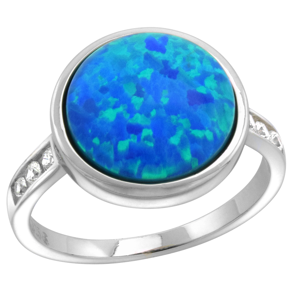 Sterling Silver Synthetic Sterling Silver Synthetic Opal 12mm Round Bezel Set Cabochon Ring for Women Channel Set CZ Shank 1/2 inch round sizes 6-9