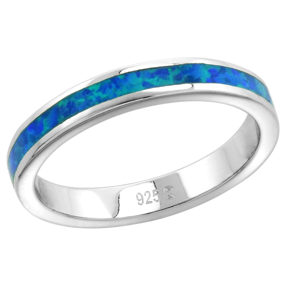 3mm Sterling Silver Synthetic Opal Stackable Ring for Women and Girls sizes 6-9