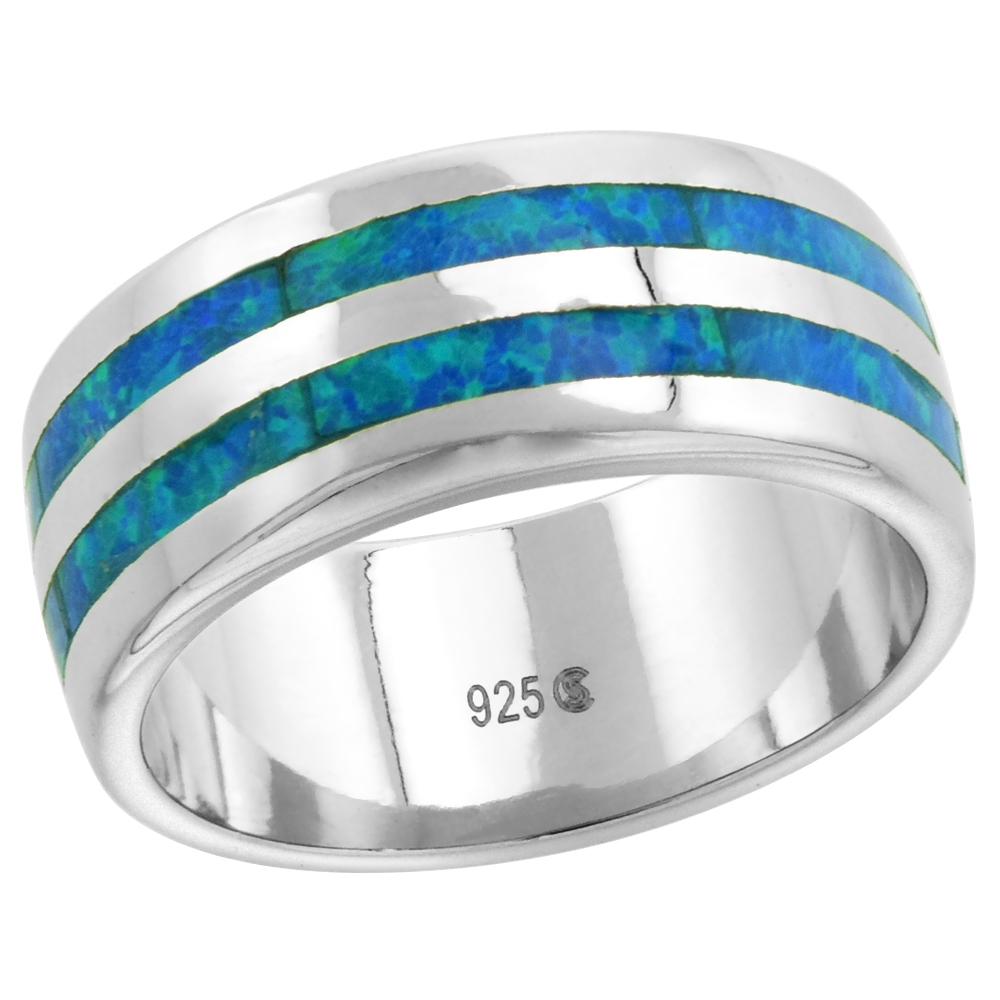 8mm Sterling Silver Synthetic Opal Wedding Band Ring for Women Double Stripe Inlay sizes 6-9