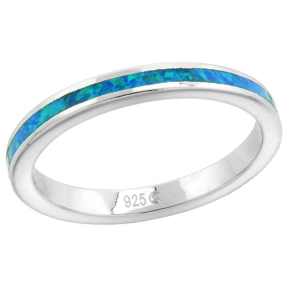 2.5mm Sterling Silver Synthetic Opal Stackable Ring for Women and Girls sizes 6-9