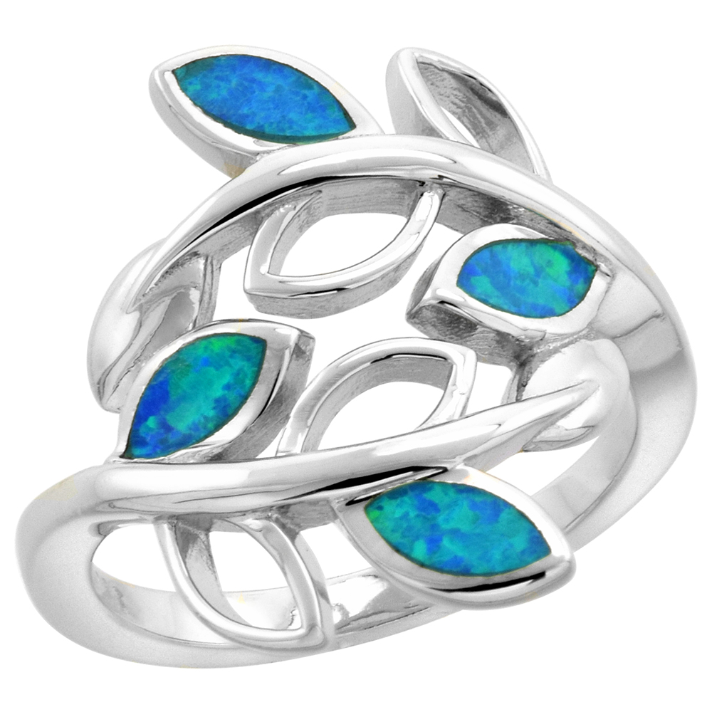 Sterling Silver Synthetic Opal Olive Branch Ring for Women Bypass Design 3/4 inch wide sizes 6-9