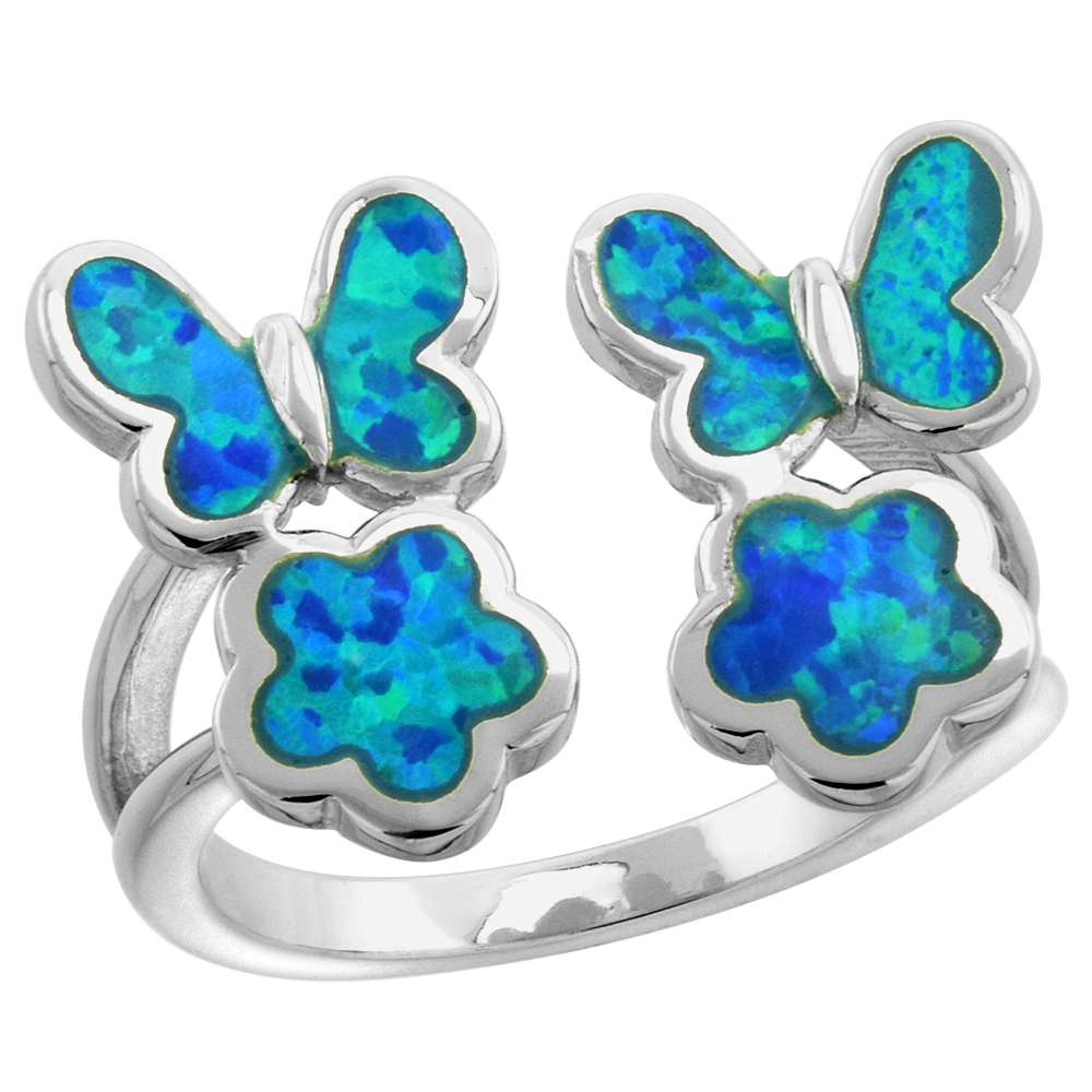 Sterling Silver Synthetic Opal Butterflies and Flowers Ring for Women 5/8 inch wide sizes 6-9
