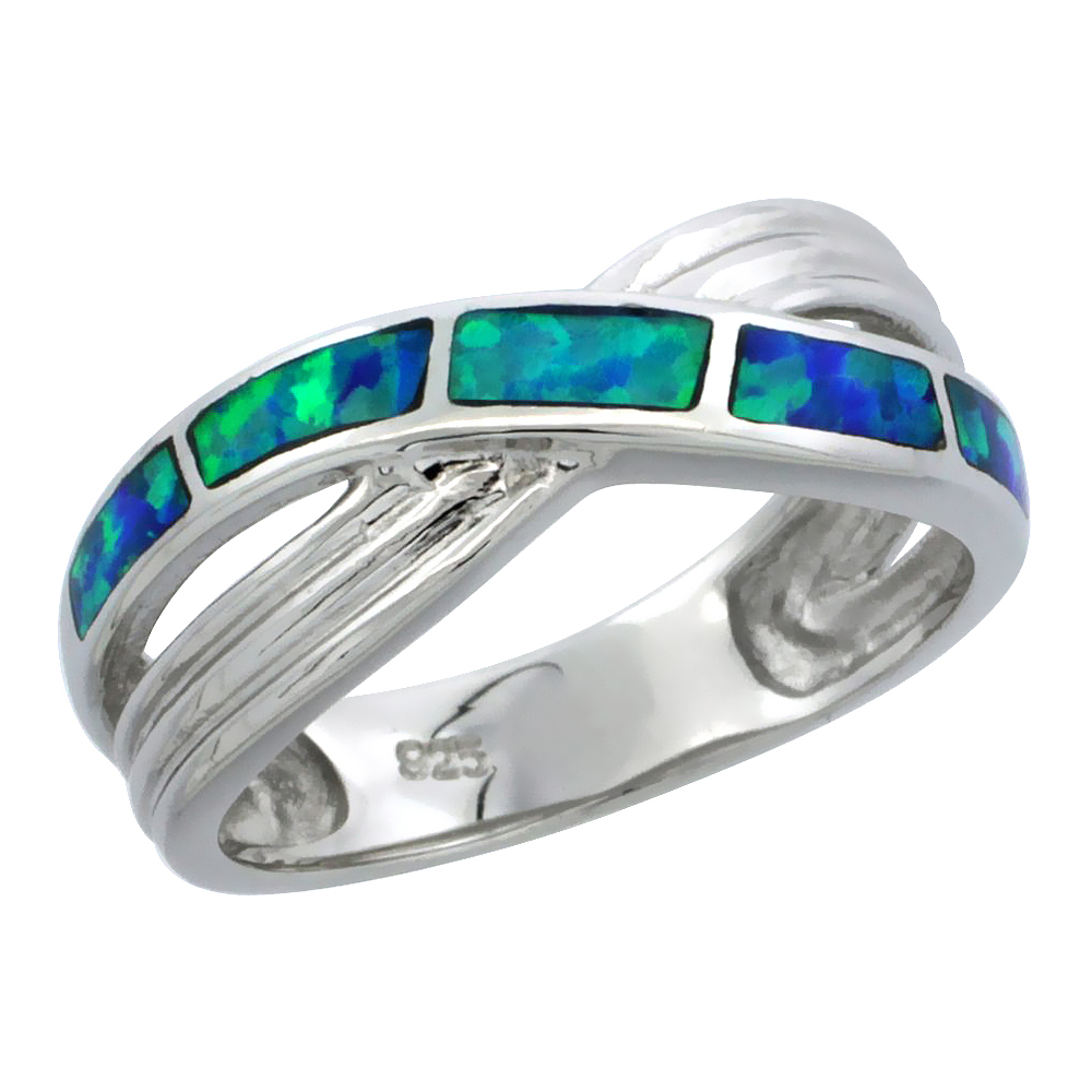 Sterling Silver Blue Synthetic Opal Crossover Ring for Women 5/16 inch