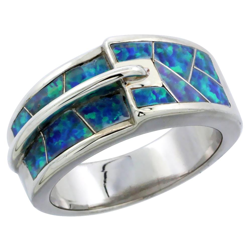 Sterling Silver Blue Synthetic Opal Belt Buckle Ring for Women 3/8 inch