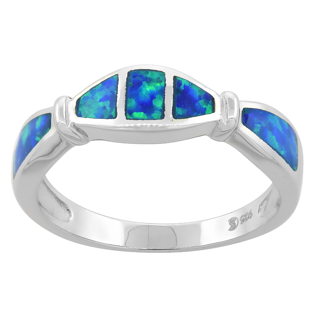 Sterling Silver Blue Synthetic Opal Narrow Band Ring for Women 3/16 inch