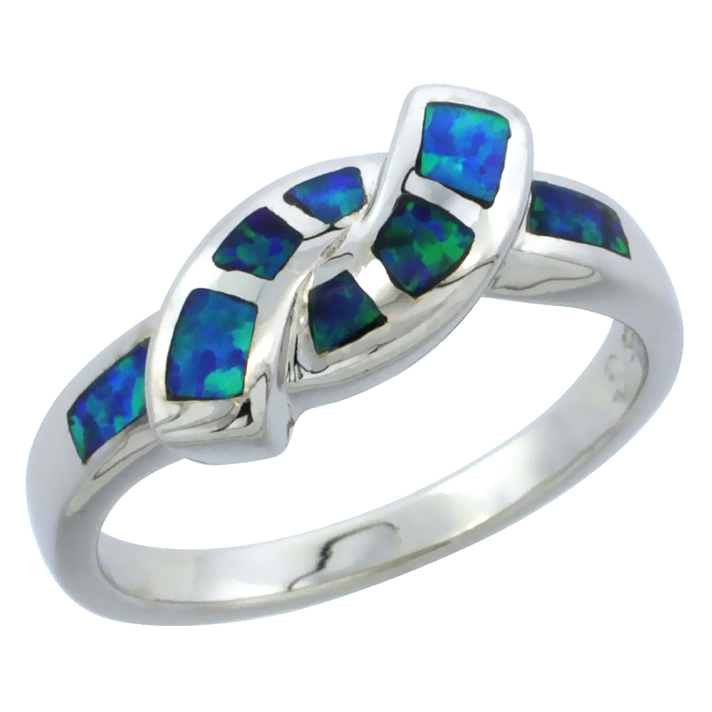 Sterling Silver Blue Synthetic Opal Thin Bypass Ring for Women 3/16 inch