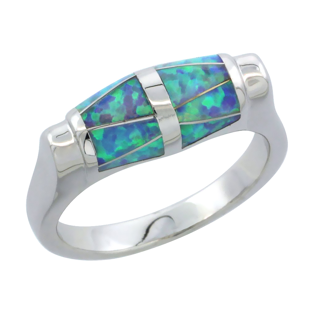 Sterling Silver Blue Synthetic Opal Barrel Ring for Women 1/4 inch