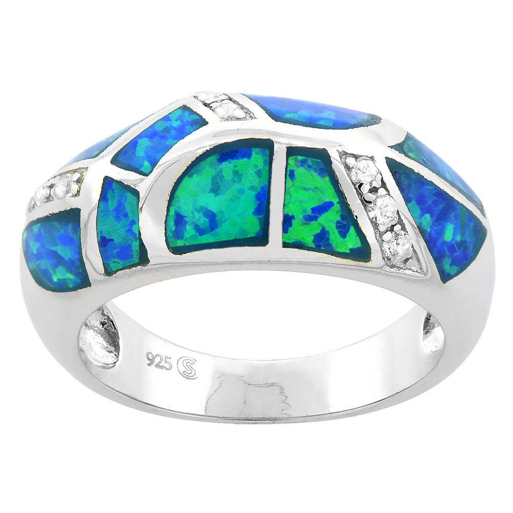Sterling Silver Blue Synthetic Opal Knife Edge Ring for Women CZ Accent 3/8 inch