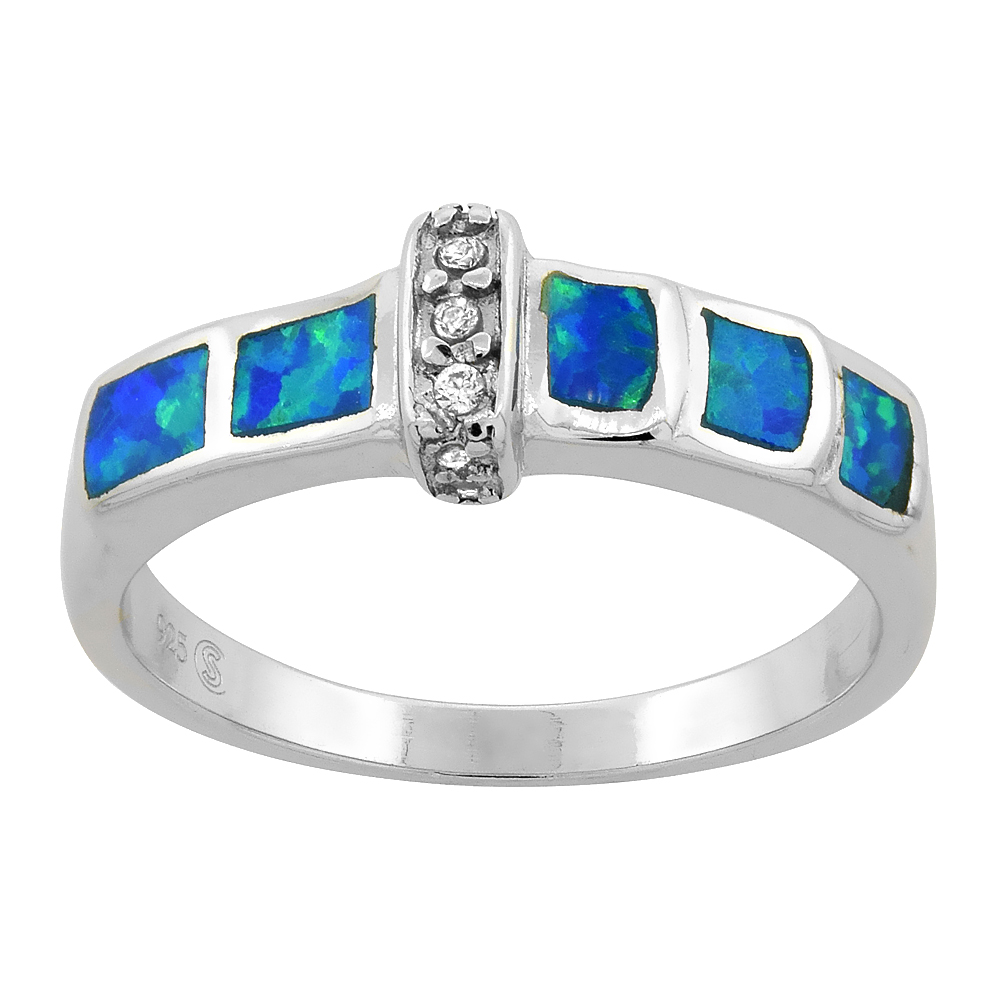 Sterling Silver Blue Synthetic Opal Narrow Band Ring for Women CZ Accent 3/16 inch