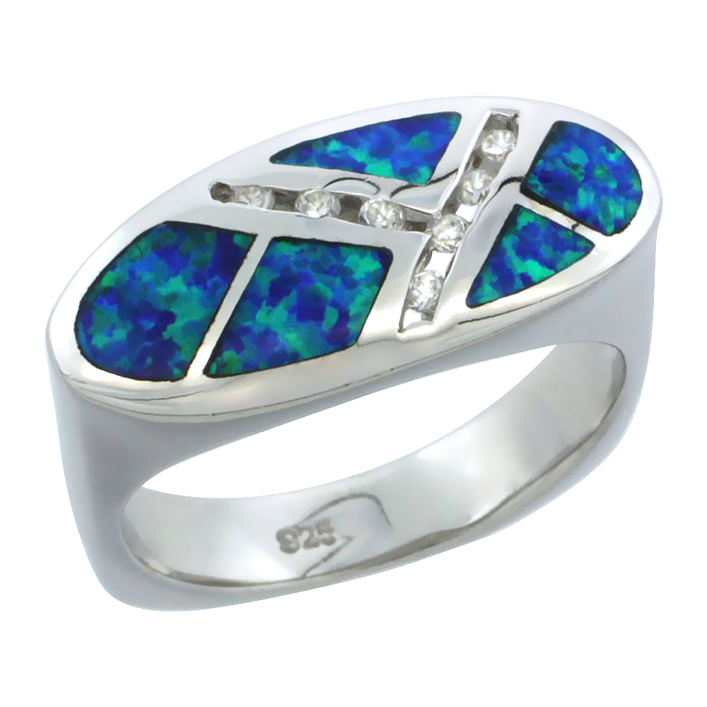 Sterling Silver Blue Synthetic Opal Flat Oval Ring for Women CZ Accent 3/8 inch